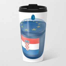 Flag of Croatia. Saucepan with a translucent cover. The symbol of the European Union. Travel Mug