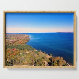 lake superior by grand island Serving Tray