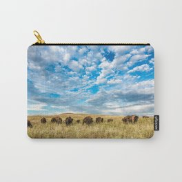 Grazing - Bison Graze Under Big Sky on Oklahoma Prairie Carry-All Pouch