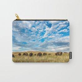 Grazing - Bison Graze Under Big Sky on Oklahoma Prairie Carry-All Pouch