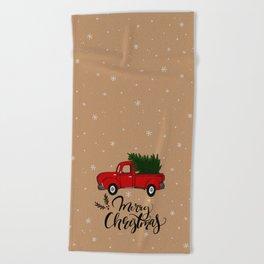 Christmas Truck Beach Towel