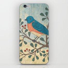 Bluebird and Berries iPhone Skin
