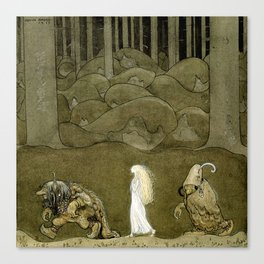 """""""The Princess and the Trolls"""" Watercolor by John Bauer Canvas Print"""