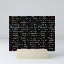 Hacking Malware Source Code (Black background, aligned) Mini Art Print