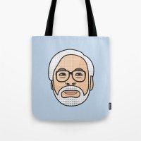 hayao miyazaki Tote Bags featuring Hayao Miyazaki Portrait - Blue by Cedric S Touati