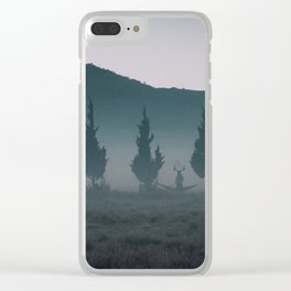Deers in the mist Clear iPhone Case