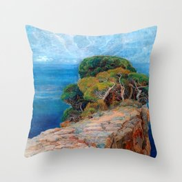 Sea View of Lacroma landscape coastline painting by Emilie Mediz-Pelikan Throw Pillow