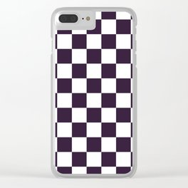 Checkered - White and Dark Purple Clear iPhone Case