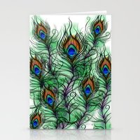 peacock feather Stationery Cards featuring Peacock Feather by Vicky Ink.