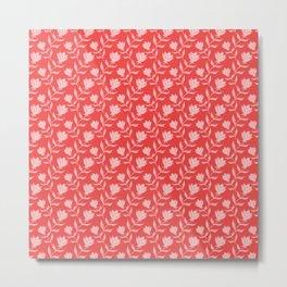 Elegant classy delicate distressed blooming rose flowers pattern. Retro vintage trendy orange floral Metal Print