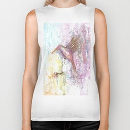 Hummingbird Watercolor Illustration Biker Tank