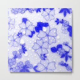 Floral Design EMMY blue Metal Print