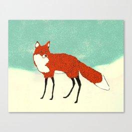 Fox in the snow, Kitsune, Vintage inspired illustration Canvas Print