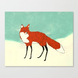 Fox in the snow, Kitsune, Vintage inspired illustration Canvas Print