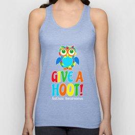 Autism Owl Give A Hoot Awareness T-Shirt Unisex Tank Top