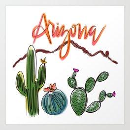 Arizona Line Drawing, Cacti and Camelback Mountain Art Print