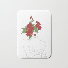 Minimal Line Art Woman with Hibiscus Bath Mat