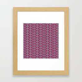 rows of Fans on deep coral Framed Art Print