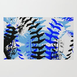 Baseball Abstract Blues Rug