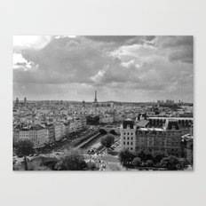 View from Notre Dame B&W Canvas Print
