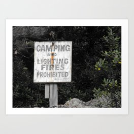 Camping and Lighting Fires Prohitited Art Print