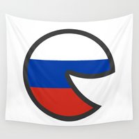 russia Wall Tapestries featuring Russia Smile by onejyoo