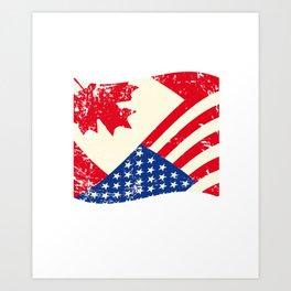 Canadian American Flag Canada America Vintage Gift Art Print