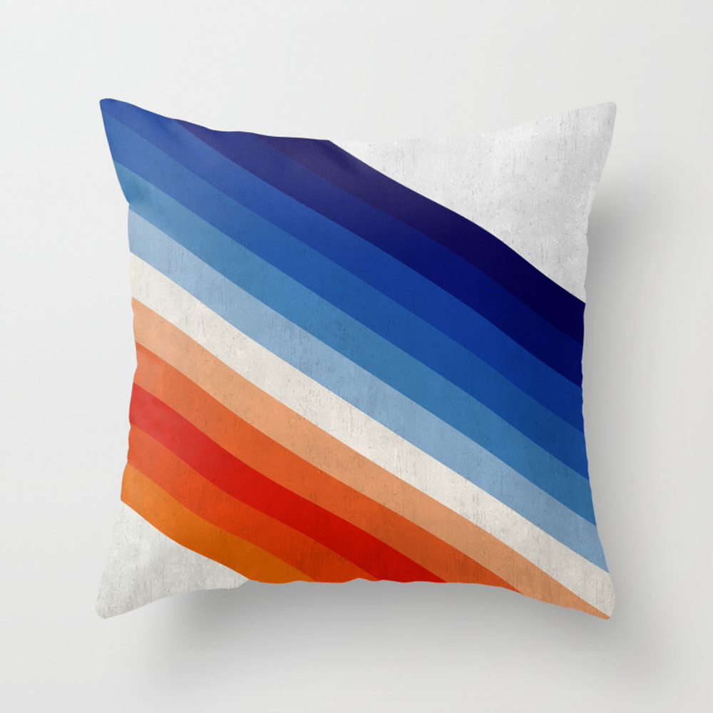 Blue And Red Gradient Bands Throw Pillow by Artgeometric PLW8746490