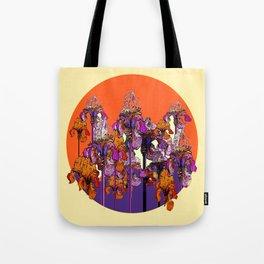 "modern art "" PURPLE & CREAM "" ORANGE IRIS GARDEN Tote Bag"