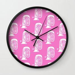 Tuba Pattern Pink Wall Clock