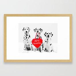 Dalmatian Dogs Merry Christmas Framed Art Print