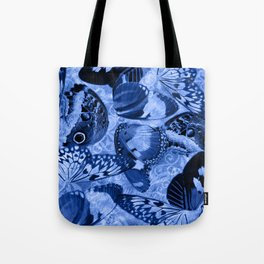 Blue Exotic Butterfly Wings and Scroll Collage Tote Bag
