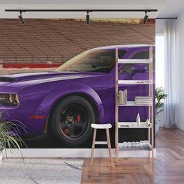 Plum Crazy Purple Widebody Challenger Hellcat Demon Wall Mural