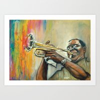 louis armstrong Art Prints featuring Louis Armstrong by Draganmac
