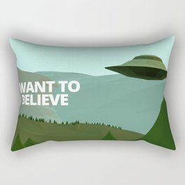 I want to believe low-poly ufo Rectangular Pillow
