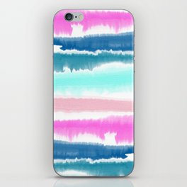 Modern hand painted watercolor pink blue stripes pattern iPhone Skin