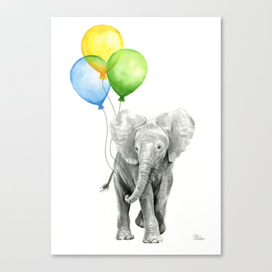 Elephant Watercolor Baby Animal with Balloons - Blue Yellow Green Canvas Print