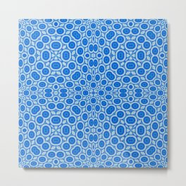 Country Blue and White Bubble Pattern Metal Print