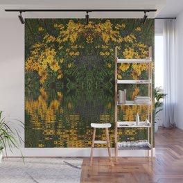 YELLOW RUDBECKIA DAISIES WATER REFLECTIONS Wall Mural