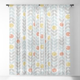 Mid Century Modern Retro Leaf and Circle Pattern Sheer Curtain