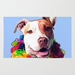 Dog in Flowers Rug