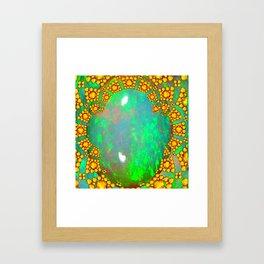 OCTOBER BIRTHSTONE GREEN FIRE OPAL & GOLD DESIGN Framed Art Print
