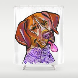 The happy GSP German Shorthaired Pointer Love of My Life Shower Curtain