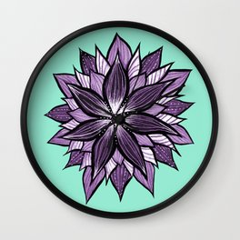 Purple Mandala Like Abstract Flower Wall Clock