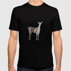 deer silhouette doe striped maple bark LARGE Mens Fitted Tee Black