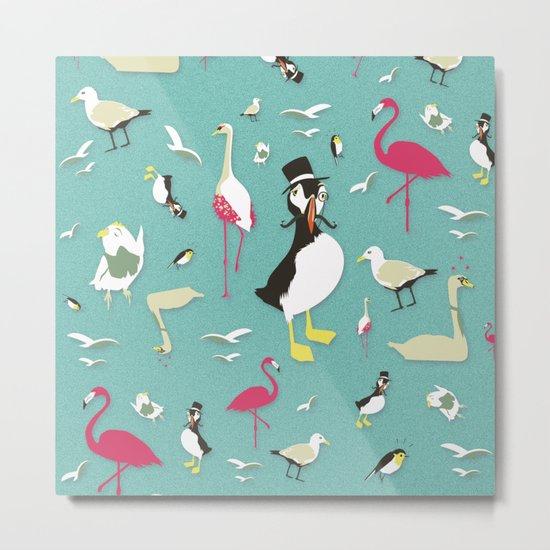 Party Birds - Pattern Metal Print