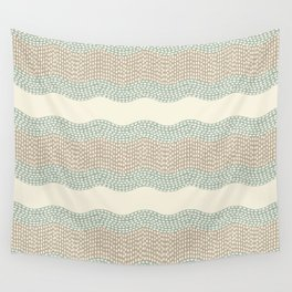 Wavy River I in cream, sage green, tan Wall Tapestry