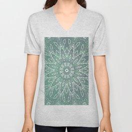fine star mandala in celadon Unisex V-Neck