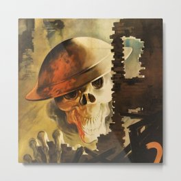 Vintage WWII Italian Skeleton Soldier in Bombed-out Ruins Poster Metal Print