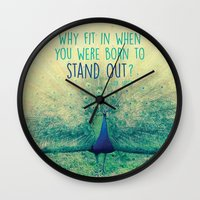 peacock Wall Clocks featuring Peacock  by Graphic Tabby